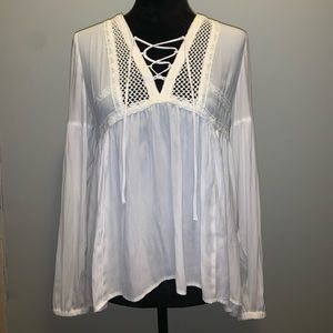 Maurice's Lace Up Embroidered blouse